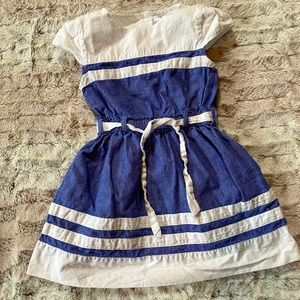 Carter's White and Blue Chambray Girls Dress 3T